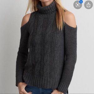 Turtleneck Shoulder Cutout Sweater